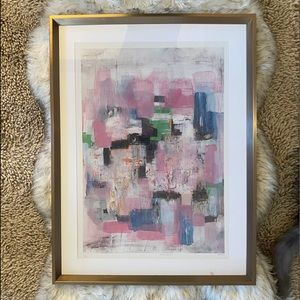 Large Gold Framed Abstract Print Artwork